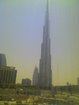 You can see the Burj as it rises high into the sky