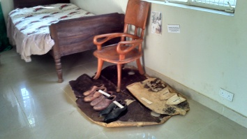 The old man's bed and shoes
