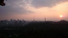 Skyline of the city at dusk