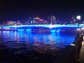 neon lighting of bridge