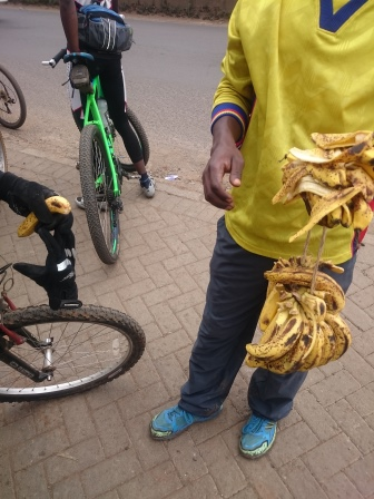 maybe it was to eat bananas, the cyclist's favourite energy food