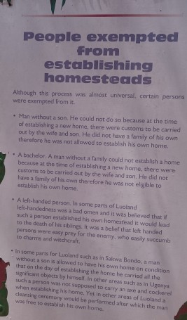 why some of you could not be allowed to establish a homestead among the Luos