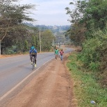 my trusted partner finishing a climb into Embu